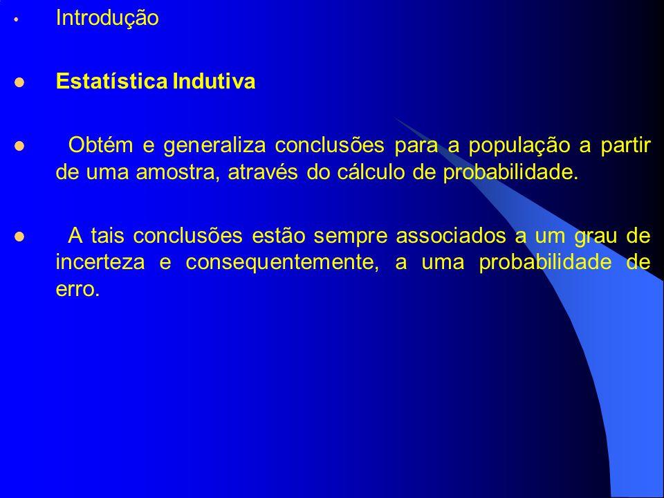 Introdução Estatística Indutiva Obtém e generaliza conclusões para a população a partir de uma amostra, através do cálculo de probabilidade. A tais co