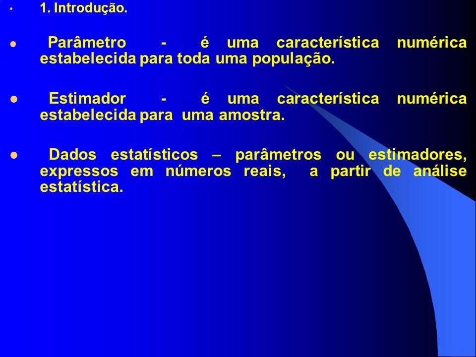Parâmetro - é uma característica numérica estabelecida para toda uma população. Estimador - é uma característica numérica estabelecida para uma amostr
