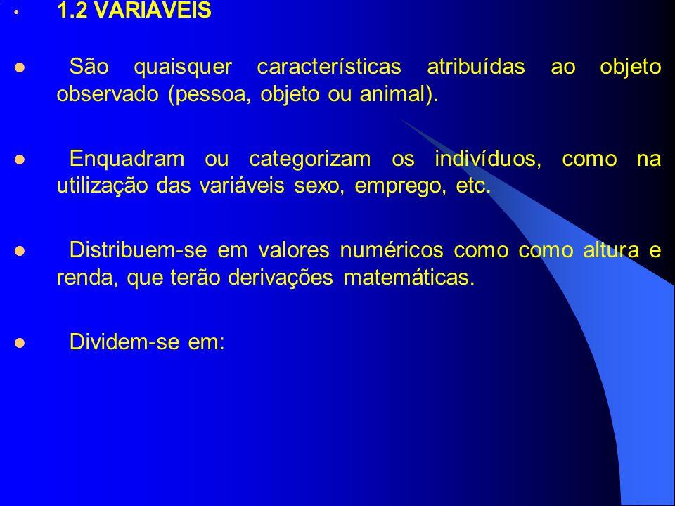 1.2 VARIÁVEIS São quaisquer características atribuídas ao objeto observado (pessoa, objeto ou animal). Enquadram ou categorizam os indivíduos, como na