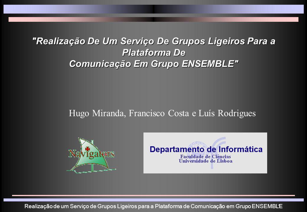 Realização de um Serviço de Grupos Ligeiros para a Plataforma de Comunicação em Grupo ENSEMBLE2 Plano 1.
