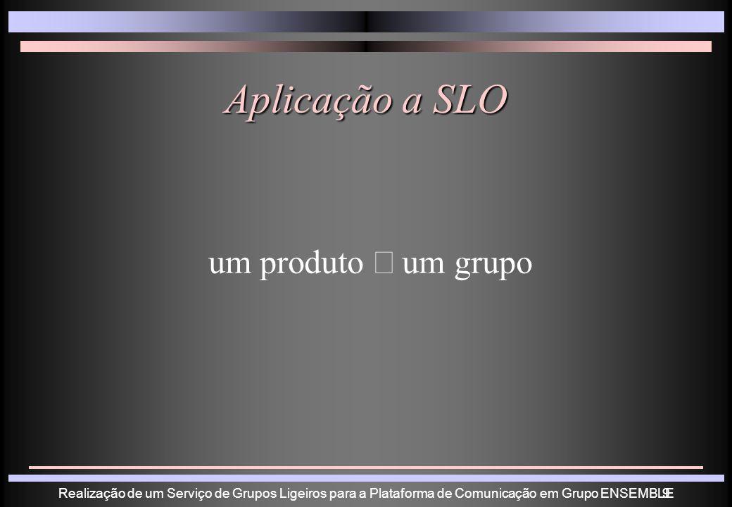 Realização de um Serviço de Grupos Ligeiros para a Plataforma de Comunicação em Grupo ENSEMBLE9 Aplicação a SLO um produto um grupo