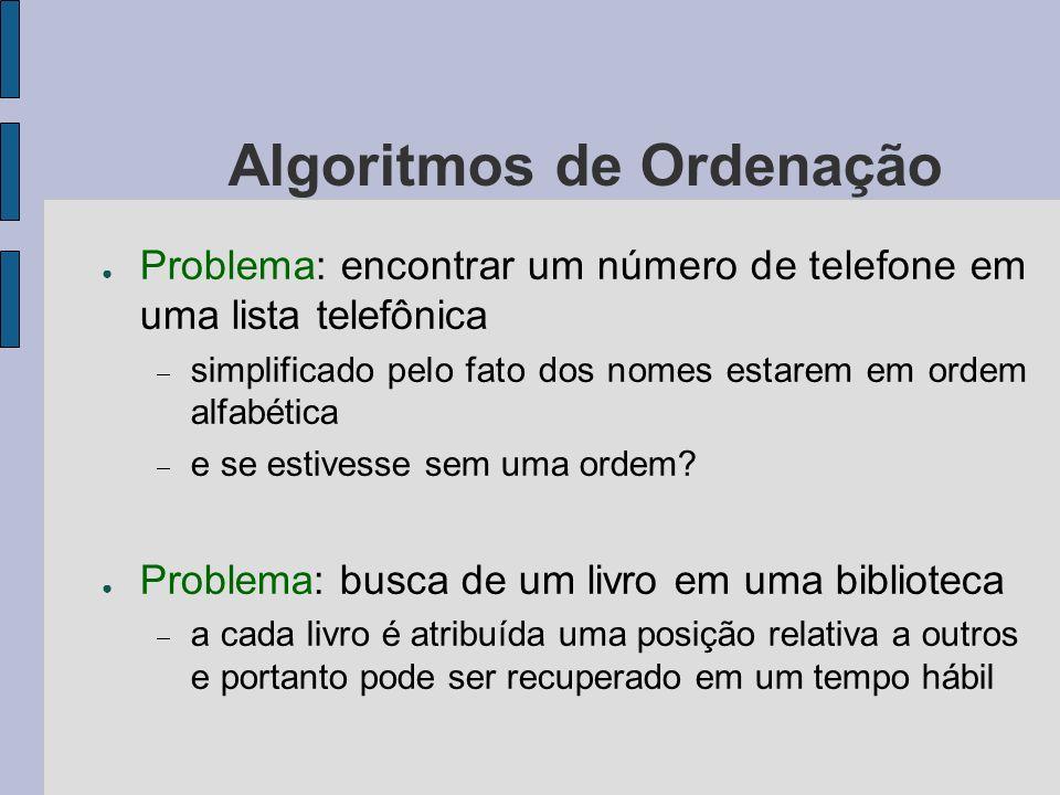 Algoritmos de Ordenação Problema: encontrar um número de telefone em uma lista telefônica simplificado pelo fato dos nomes estarem em ordem alfabética