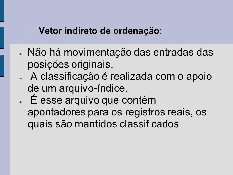 Vetor indireto de ordenação: Não há movimentação das entradas das posições originais. A classificação é realizada com o apoio de um arquivo-índice. É