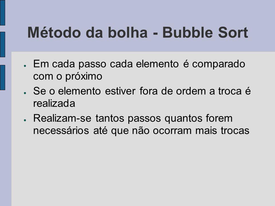 Método da bolha - Bubble Sort Em cada passo cada elemento é comparado com o próximo Se o elemento estiver fora de ordem a troca é realizada Realizam-s