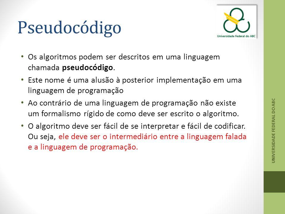 Pseudocódigo Os algoritmos podem ser descritos em uma linguagem chamada pseudocódigo. Este nome é uma alusão à posterior implementação em uma linguage