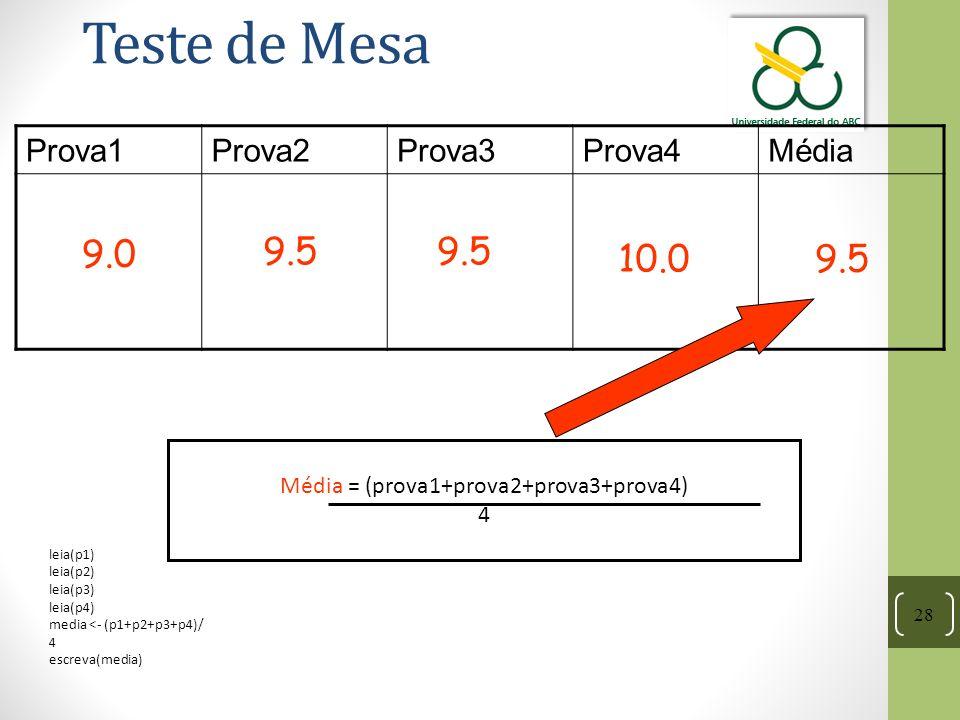28 Teste de Mesa Prova1Prova2Prova3Prova4Média 9.0 9.5 10.09.5 Média = (prova1+prova2+prova3+prova4) 4 leia(p1) leia(p2) leia(p3) leia(p4) media <- (p