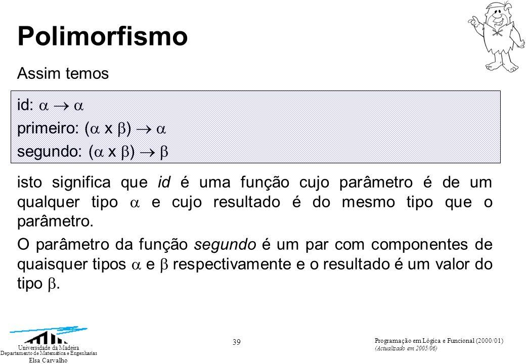 Elsa Carvalho 39 Universidade da Madeira Departamento de Matemática e Engenharias Programação em Lógica e Funcional (2000/01) (Actualizado em 2005/06) Polimorfismo Assim temos id: primeiro: ( x ) segundo: ( x ) isto significa que id é uma função cujo parâmetro é de um qualquer tipo e cujo resultado é do mesmo tipo que o parâmetro.