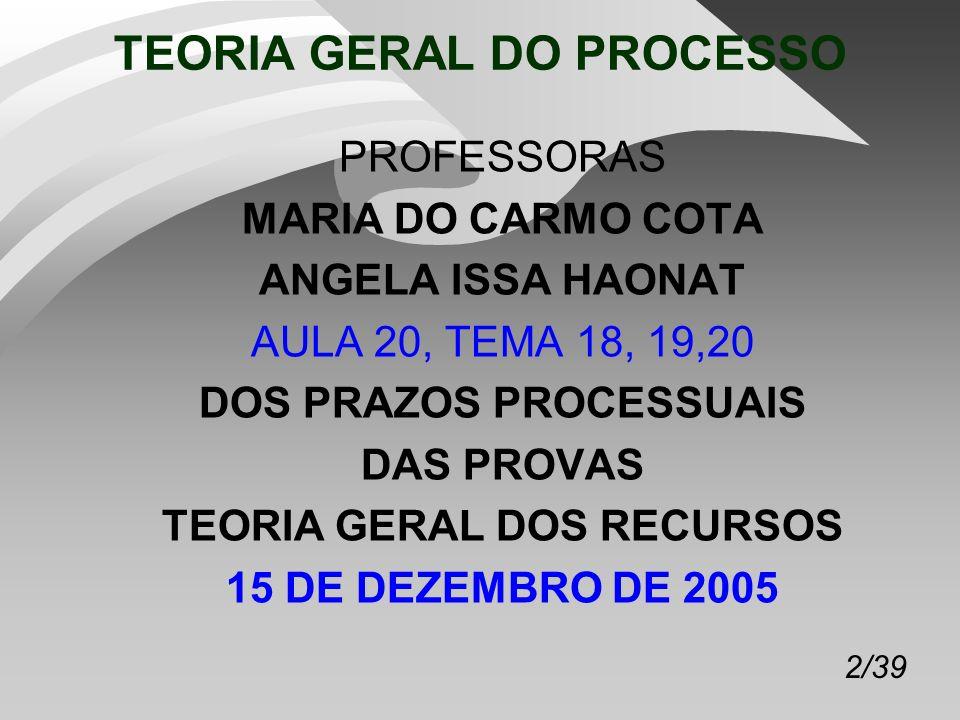 2/39 TEORIA GERAL DO PROCESSO PROFESSORAS MARIA DO CARMO COTA ANGELA ISSA HAONAT AULA 20, TEMA 18, 19,20 DOS PRAZOS PROCESSUAIS DAS PROVAS TEORIA GERAL DOS RECURSOS 15 DE DEZEMBRO DE 2005