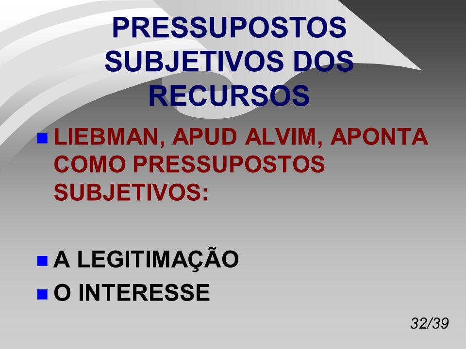 32/39 PRESSUPOSTOS SUBJETIVOS DOS RECURSOS n LIEBMAN, APUD ALVIM, APONTA COMO PRESSUPOSTOS SUBJETIVOS: n A LEGITIMAÇÃO n O INTERESSE