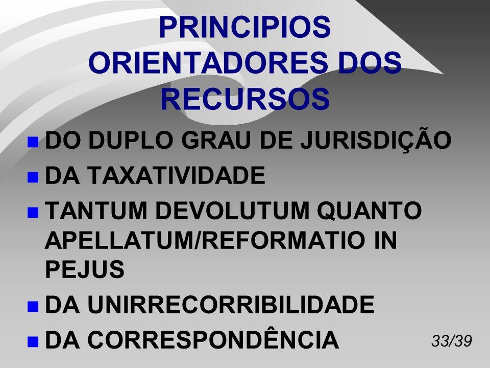 33/39 PRINCIPIOS ORIENTADORES DOS RECURSOS n DO DUPLO GRAU DE JURISDIÇÃO n DA TAXATIVIDADE n TANTUM DEVOLUTUM QUANTO APELLATUM/REFORMATIO IN PEJUS n DA UNIRRECORRIBILIDADE n DA CORRESPONDÊNCIA