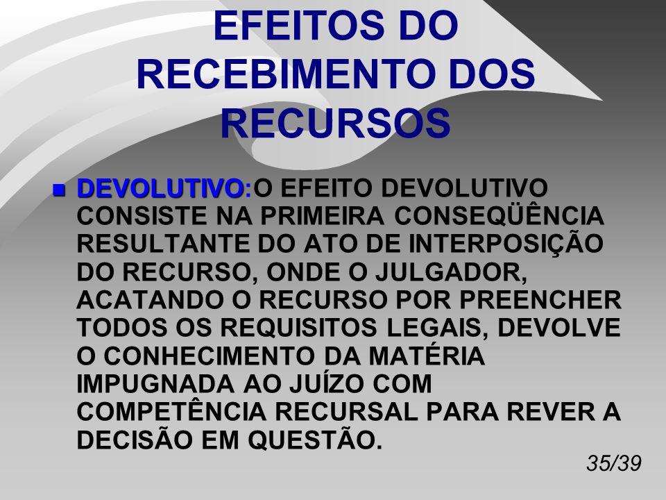 35/39 EFEITOS DO RECEBIMENTO DOS RECURSOS n DEVOLUTIVO n DEVOLUTIVO:O EFEITO DEVOLUTIVO CONSISTE NA PRIMEIRA CONSEQÜÊNCIA RESULTANTE DO ATO DE INTERPOSIÇÃO DO RECURSO, ONDE O JULGADOR, ACATANDO O RECURSO POR PREENCHER TODOS OS REQUISITOS LEGAIS, DEVOLVE O CONHECIMENTO DA MATÉRIA IMPUGNADA AO JUÍZO COM COMPETÊNCIA RECURSAL PARA REVER A DECISÃO EM QUESTÃO.