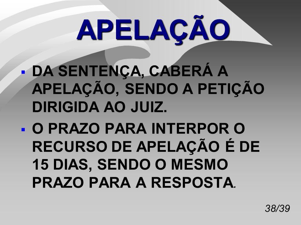 38/39 APELAÇÃO DA SENTENÇA, CABERÁ A APELAÇÃO, SENDO A PETIÇÃO DIRIGIDA AO JUIZ.