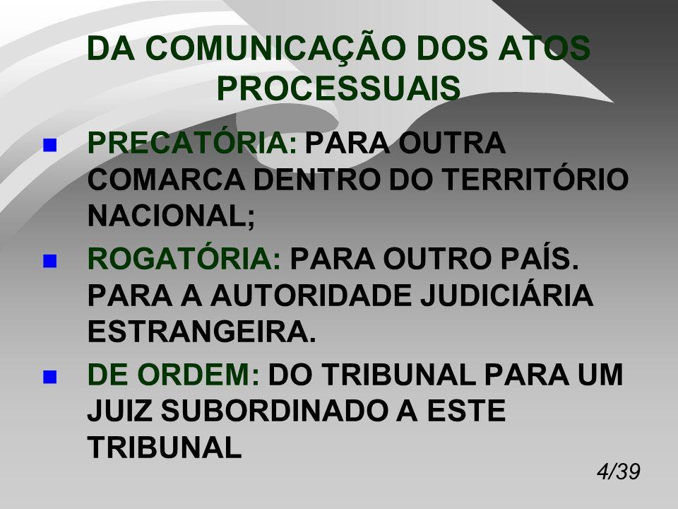 4/39 DA COMUNICAÇÃO DOS ATOS PROCESSUAIS n PRECATÓRIA: PARA OUTRA COMARCA DENTRO DO TERRITÓRIO NACIONAL; n ROGATÓRIA: PARA OUTRO PAÍS.