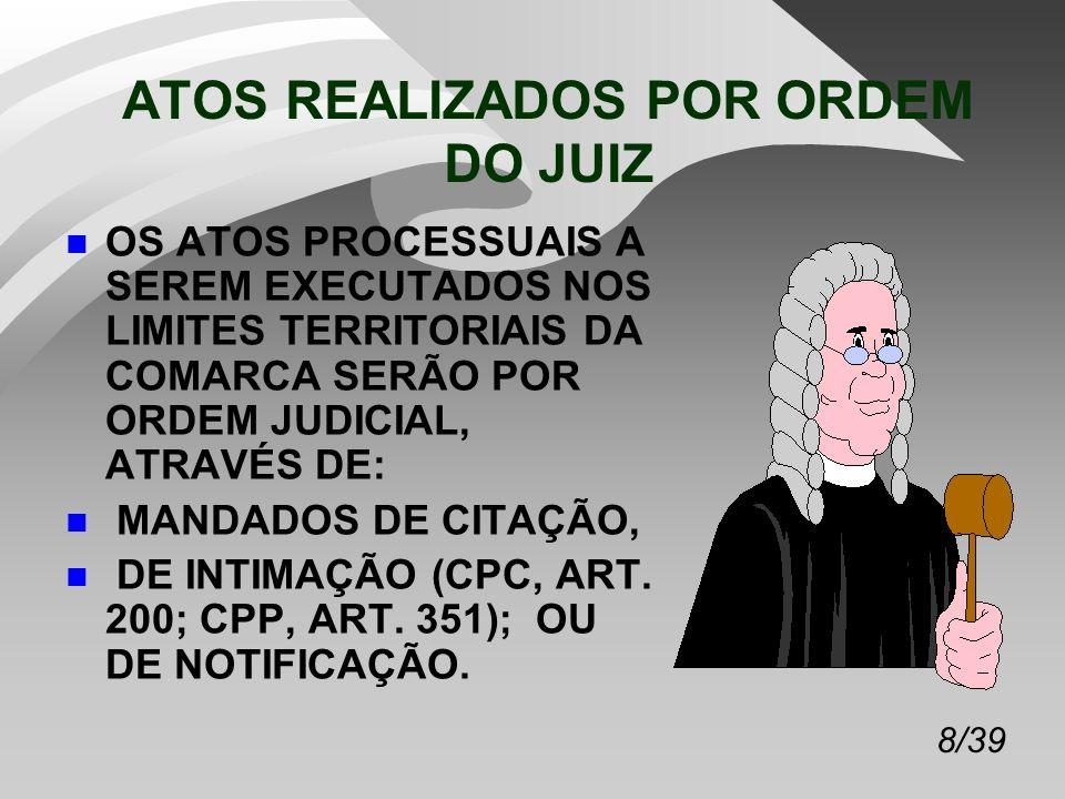8/39 ATOS REALIZADOS POR ORDEM DO JUIZ n OS ATOS PROCESSUAIS A SEREM EXECUTADOS NOS LIMITES TERRITORIAIS DA COMARCA SERÃO POR ORDEM JUDICIAL, ATRAVÉS DE: n MANDADOS DE CITAÇÃO, n DE INTIMAÇÃO (CPC, ART.