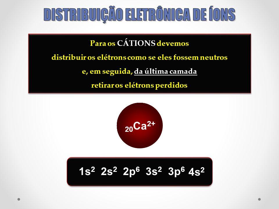 Para os CÁTIONS devemos distribuir os elétrons como se eles fossem neutros e, em seguida, da última camada retirar os elétrons perdidos Para os CÁTION