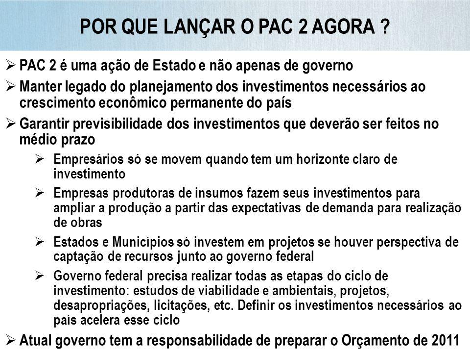 PAC 2 é uma ação de Estado e não apenas de governo Manter legado do planejamento dos investimentos necessários ao crescimento econômico permanente do