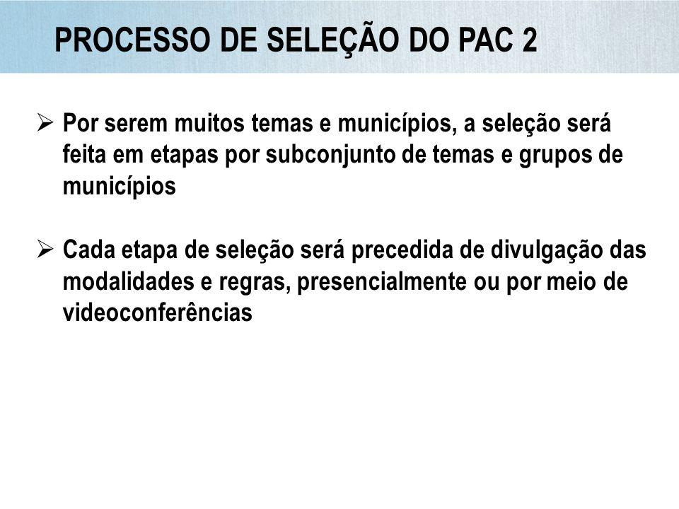PROCESSO DE SELEÇÃO DO PAC 2 Por serem muitos temas e municípios, a seleção será feita em etapas por subconjunto de temas e grupos de municípios Cada