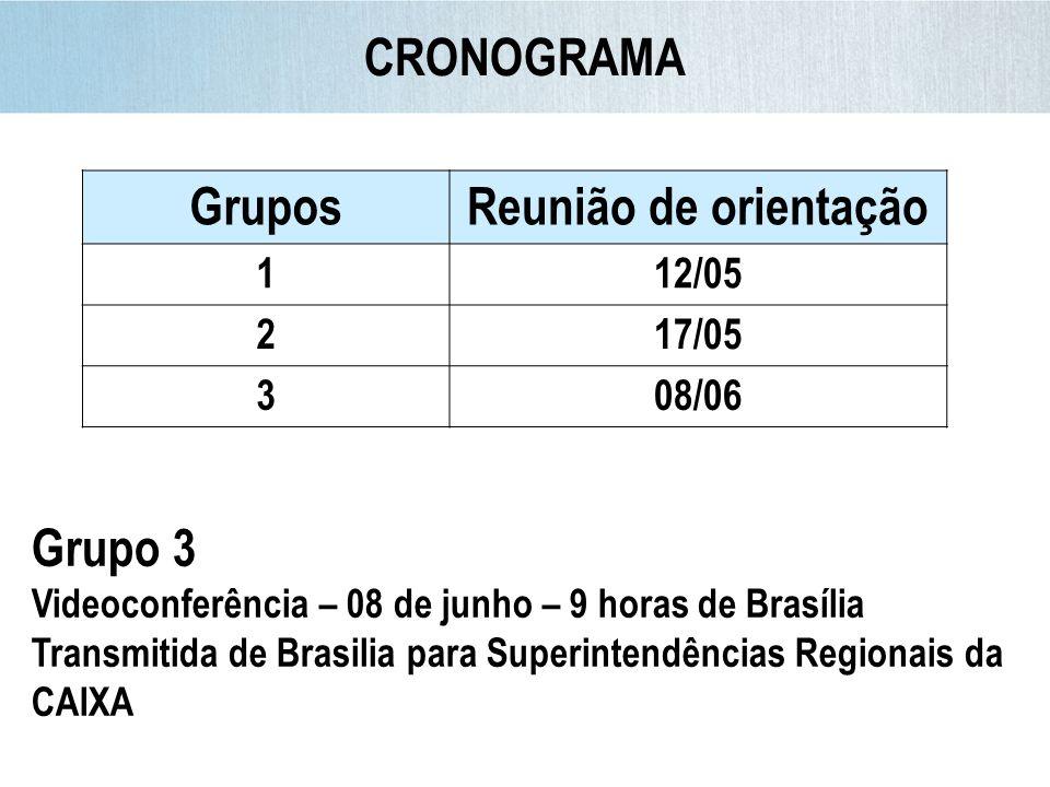 CRONOGRAMA GruposReunião de orientação 112/05 217/05 308/06 Grupo 3 Videoconferência – 08 de junho – 9 horas de Brasília Transmitida de Brasilia para