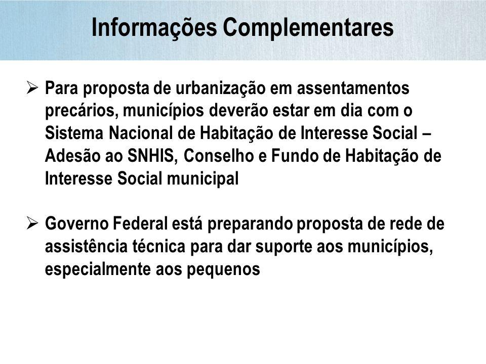 Informações Complementares Para proposta de urbanização em assentamentos precários, municípios deverão estar em dia com o Sistema Nacional de Habitaçã