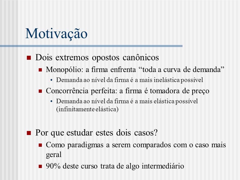 Motivação Monopólio e concorrência perfeita têm um fator em comum Firmas não são estratégicas Em monopólio, por construção Concorrência perfeita tem pouco ou nada de concorrencial no sentido de rivalidade Vamos ver tb um modelo de oligopólio no qual as firmas não são estratégicas