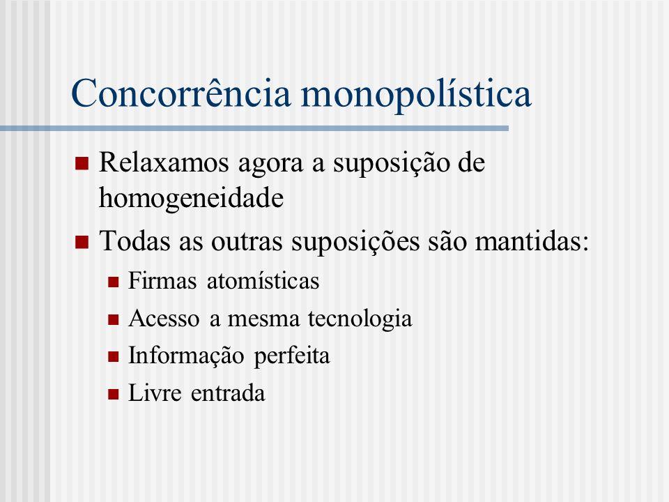 Concorrência monopolística Relaxamos agora a suposição de homogeneidade Todas as outras suposições são mantidas: Firmas atomísticas Acesso a mesma tecnologia Informação perfeita Livre entrada