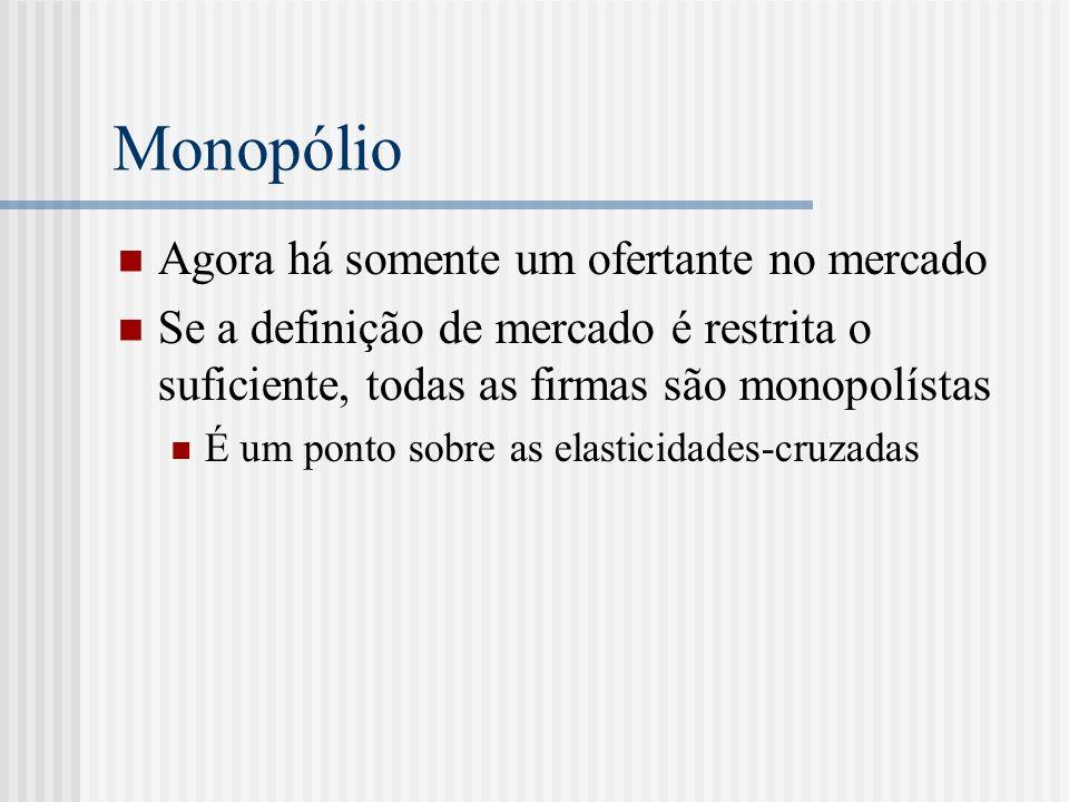 Monopólio Agora há somente um ofertante no mercado Se a definição de mercado é restrita o suficiente, todas as firmas são monopolístas É um ponto sobre as elasticidades-cruzadas