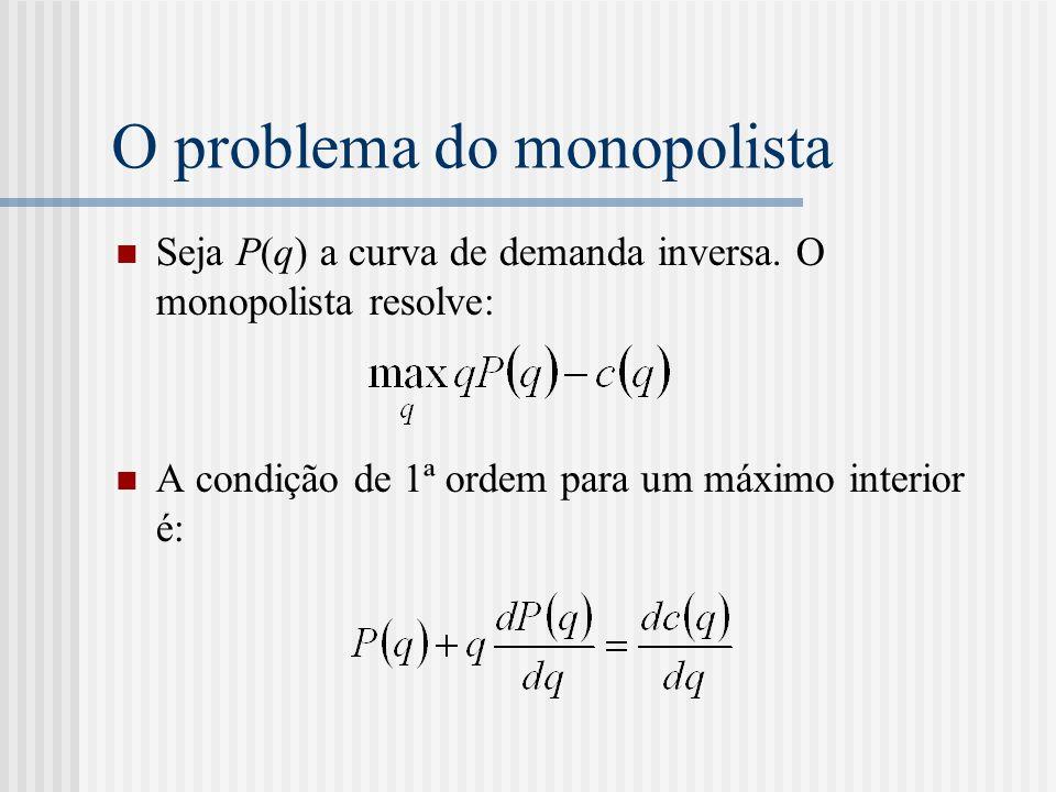 O problema do monopolista Seja P(q) a curva de demanda inversa.