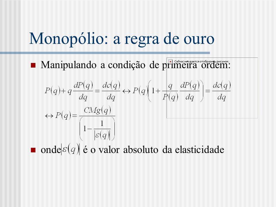 Monopólio: a regra de ouro Manipulando a condição de primeira ordem: onde é o valor absoluto da elasticidade
