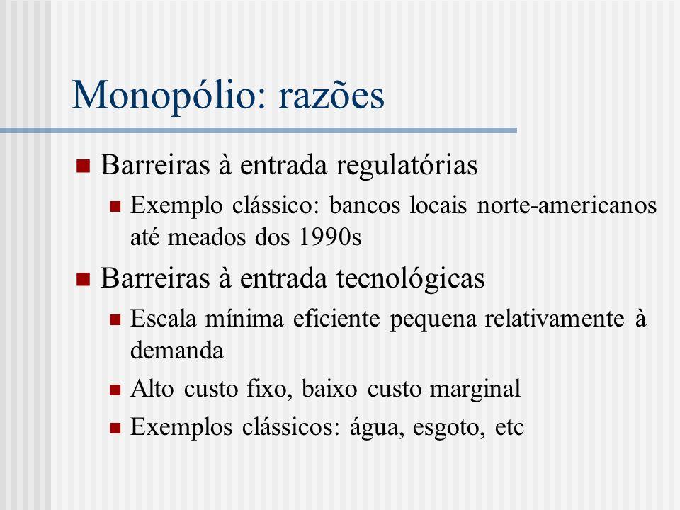 Monopólio: razões Barreiras à entrada regulatórias Exemplo clássico: bancos locais norte-americanos até meados dos 1990s Barreiras à entrada tecnológicas Escala mínima eficiente pequena relativamente à demanda Alto custo fixo, baixo custo marginal Exemplos clássicos: água, esgoto, etc