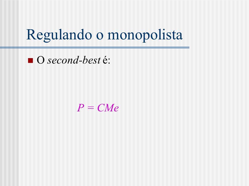 Regulando o monopolista O second-best é: P = CMe
