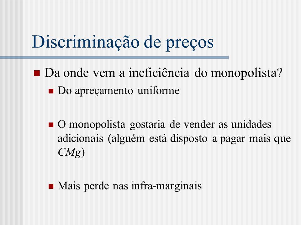 Discriminação de preços Da onde vem a ineficiência do monopolista.
