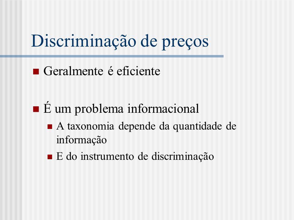 Discriminação de preços Geralmente é eficiente É um problema informacional A taxonomia depende da quantidade de informação E do instrumento de discriminação