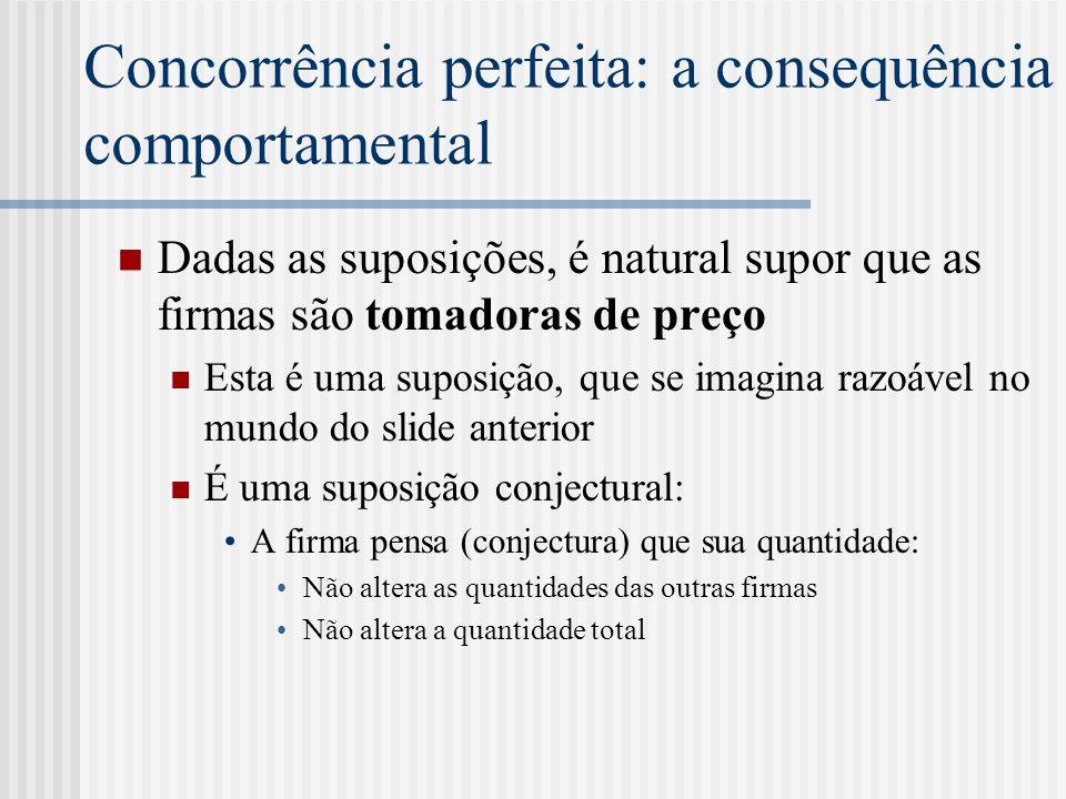 Concorrência perfeita: eficiência P = CM g Eficiência alocativa O valor social da unidade adicional (dado pela demanda) é ao custo social desta unidade (dado pela função custo) P = CM e Eficiência produtiva