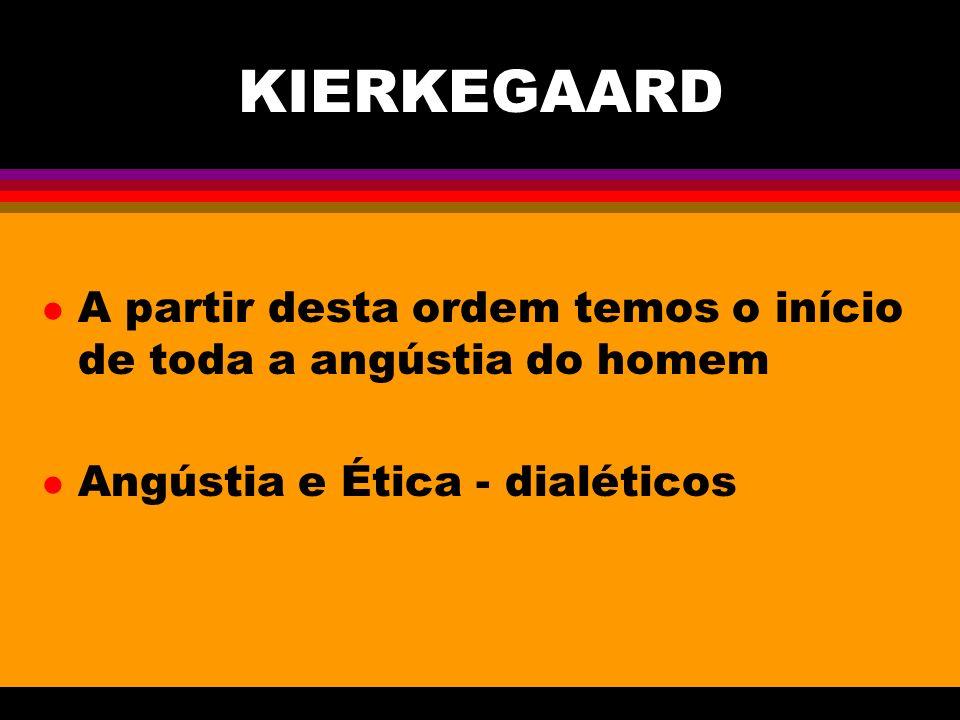 KIERKEGAARD l A partir desta ordem temos o início de toda a angústia do homem l Angústia e Ética - dialéticos