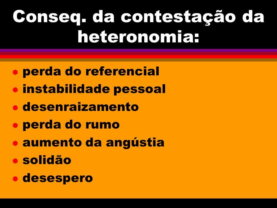 Conseq. da contestação da heteronomia: l perda do referencial l instabilidade pessoal l desenraizamento l perda do rumo l aumento da angústia l solidã