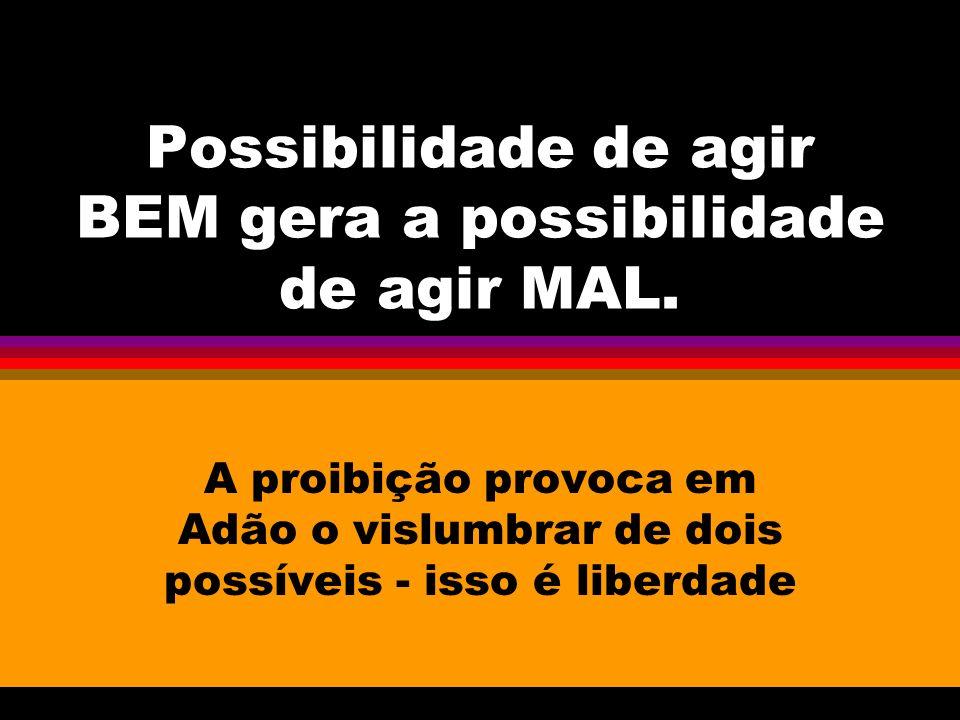 Possibilidade de agir BEM gera a possibilidade de agir MAL. A proibição provoca em Adão o vislumbrar de dois possíveis - isso é liberdade