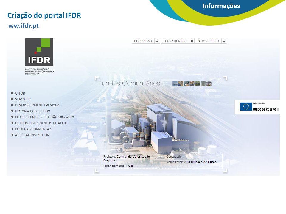 Criação do portal IFDR ww.ifdr.pt Informações