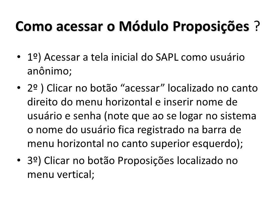 Como acessar o Módulo Proposições Como acessar o Módulo Proposições ? 1º) Acessar a tela inicial do SAPL como usuário anônimo; 2º ) Clicar no botão ac
