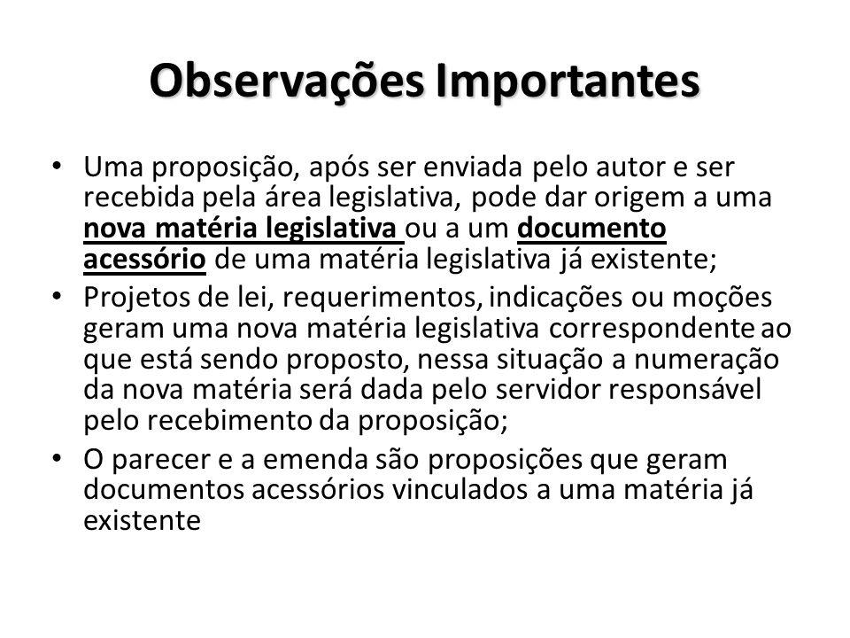 Observações Importantes Uma proposição, após ser enviada pelo autor e ser recebida pela área legislativa, pode dar origem a uma nova matéria legislati