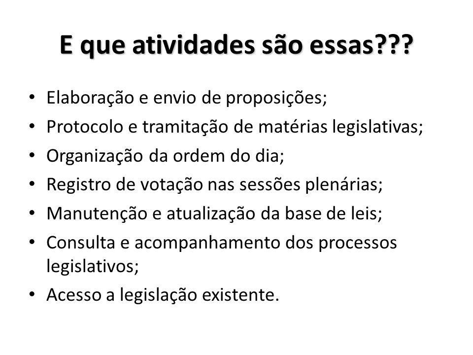 E que atividades são essas??? Elaboração e envio de proposições; Protocolo e tramitação de matérias legislativas; Organização da ordem do dia; Registr