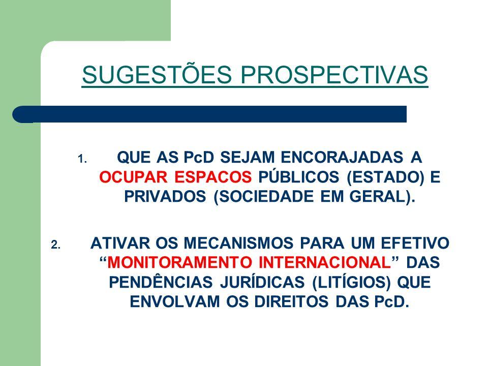 SUGESTÕES PROSPECTIVAS 1. QUE AS PcD SEJAM ENCORAJADAS A OCUPAR ESPACOS PÚBLICOS (ESTADO) E PRIVADOS (SOCIEDADE EM GERAL). 2. ATIVAR OS MECANISMOS PAR