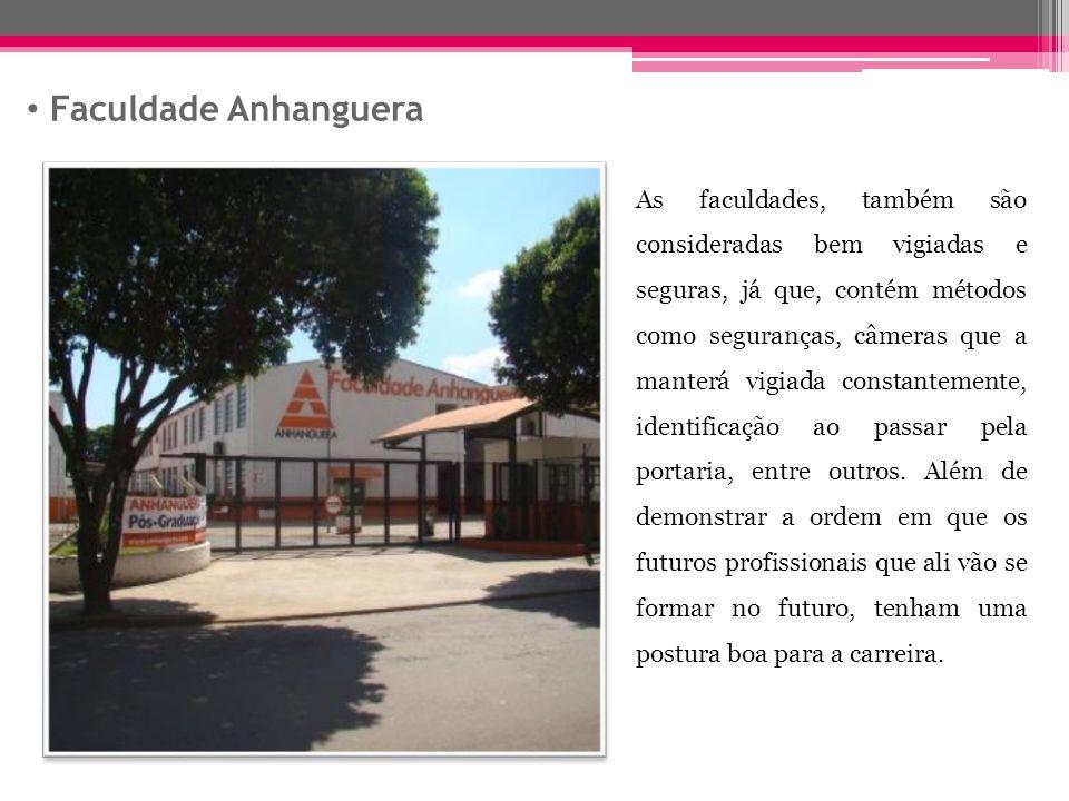 Faculdade Anhanguera As faculdades, também são consideradas bem vigiadas e seguras, já que, contém métodos como seguranças, câmeras que a manterá vigiada constantemente, identificação ao passar pela portaria, entre outros.