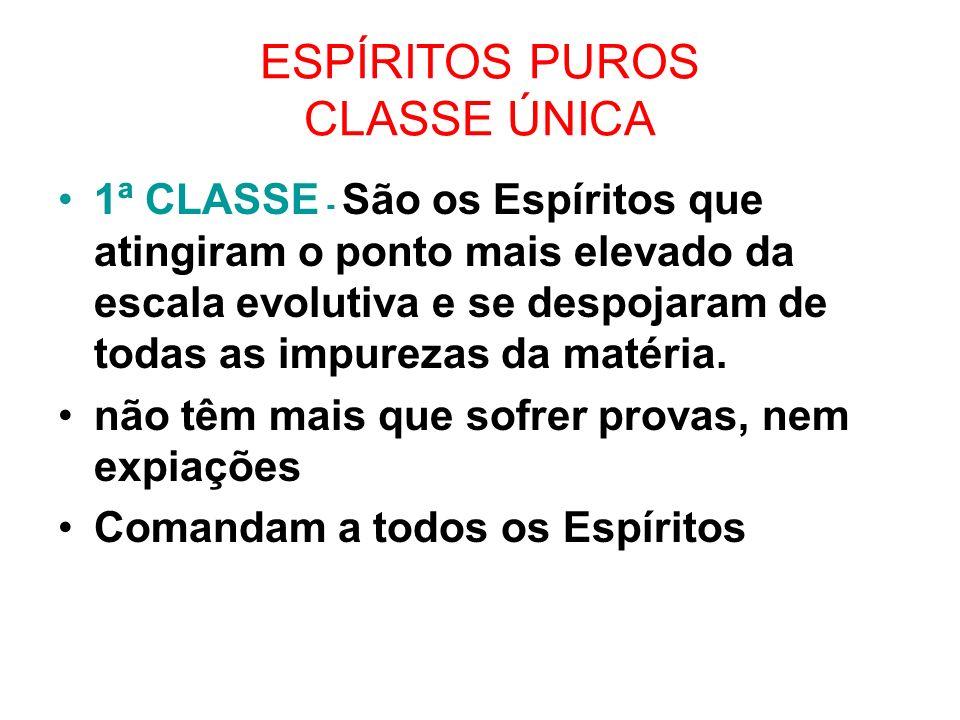 ESPÍRITOS PUROS CLASSE ÚNICA 1ª CLASSE - São os Espíritos que atingiram o ponto mais elevado da escala evolutiva e se despojaram de todas as impurezas da matéria.