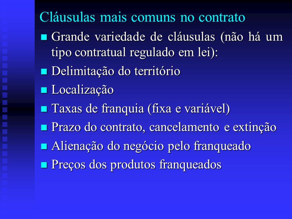 Cláusulas mais comuns no contrato Grande variedade de cláusulas (não há um tipo contratual regulado em lei): Grande variedade de cláusulas (não há um