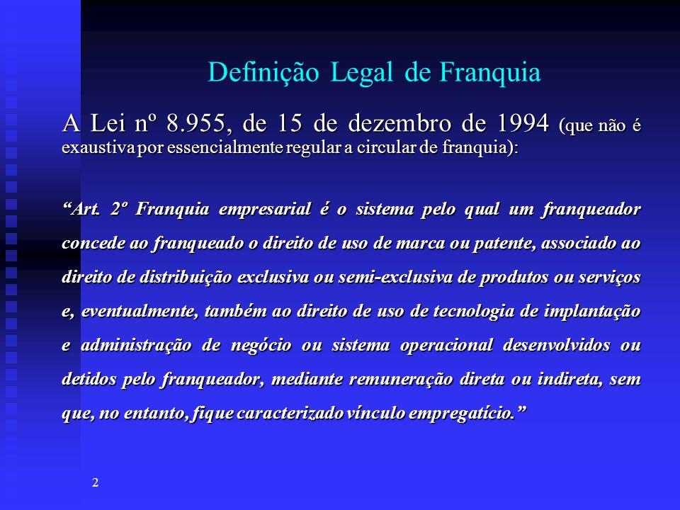 2 Definição Legal de Franquia A Lei nº 8.955, de 15 de dezembro de 1994 (que não é exaustiva por essencialmente regular a circular de franquia): Art.