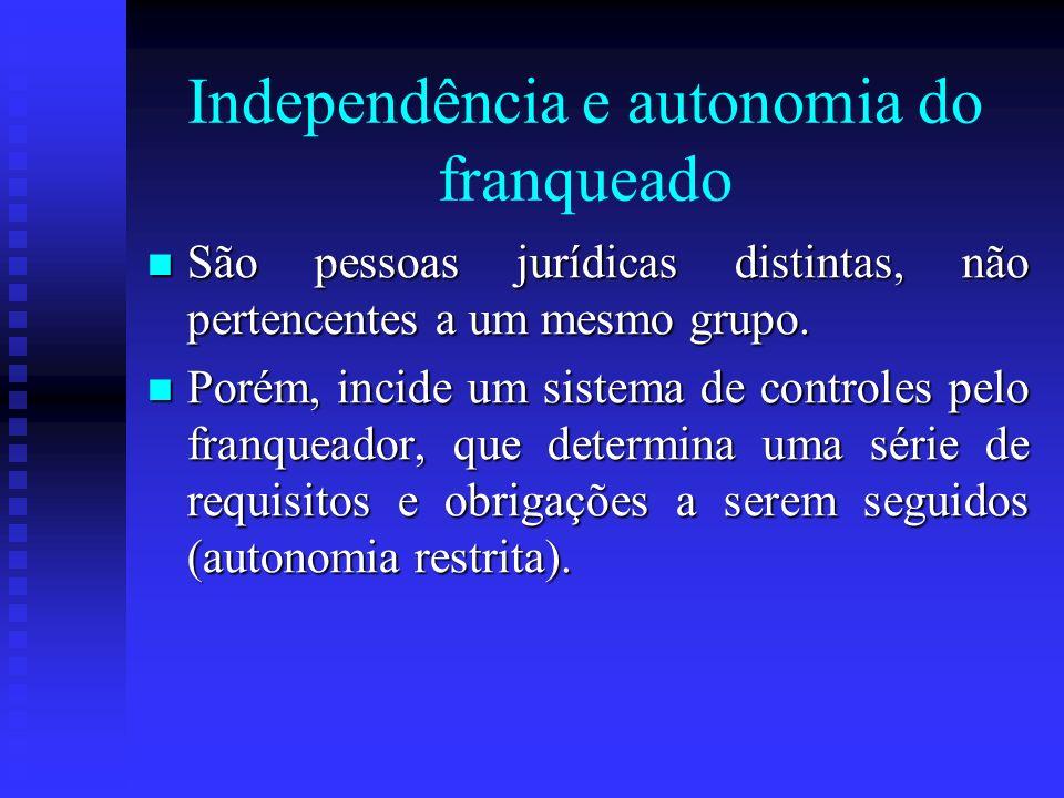 Independência e autonomia do franqueado São pessoas jurídicas distintas, não pertencentes a um mesmo grupo. São pessoas jurídicas distintas, não perte