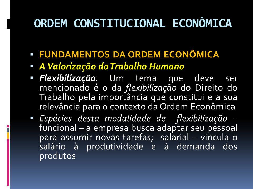 ORDEM CONSTITUCIONAL ECONÔMICA FUNDAMENTOS DA ORDEM ECONÔMICA A Valorização do Trabalho Humano Flexibilização.