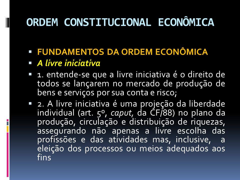 ORDEM CONSTITUCIONAL ECONÔMICA PRINCÍPIOS GERAIS DA ATIVIDADE ECONÔMICA A Função Social da Propriedade - Por este princípio tem-se a relação umbilical entre ordem econômica e propriedade privada.