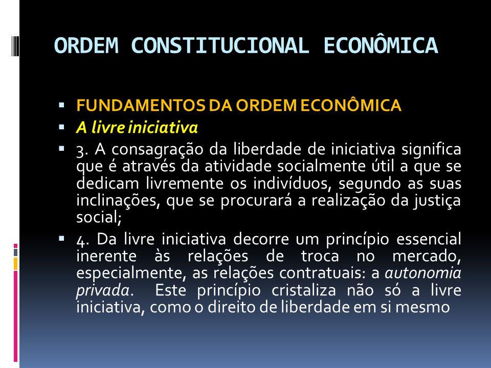 ORDEM CONSTITUCIONAL ECONÔMICA FUNDAMENTOS DA ORDEM ECONÔMICA A livre iniciativa 3.