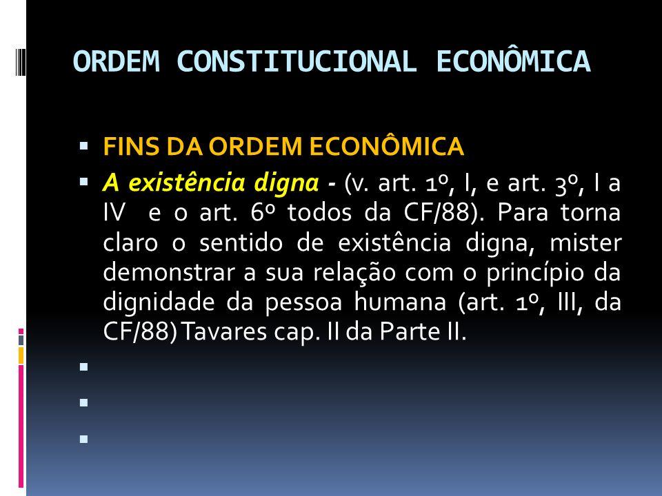 ORDEM CONSTITUCIONAL ECONÔMICA FINS DA ORDEM ECONÔMICA A existência digna - (v.